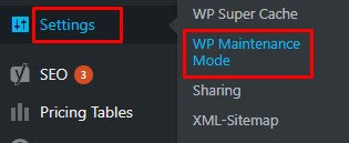 seting mode maintenance